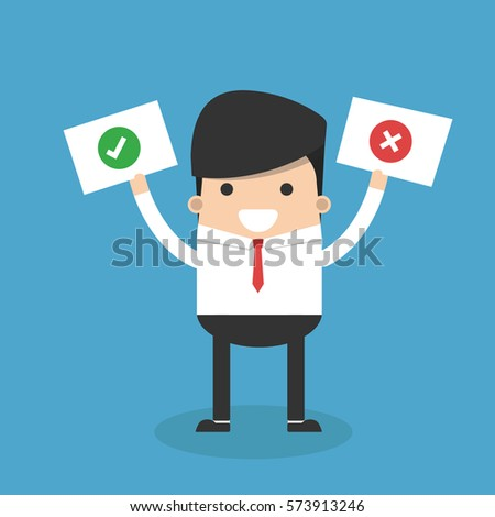 businessman hold signs with