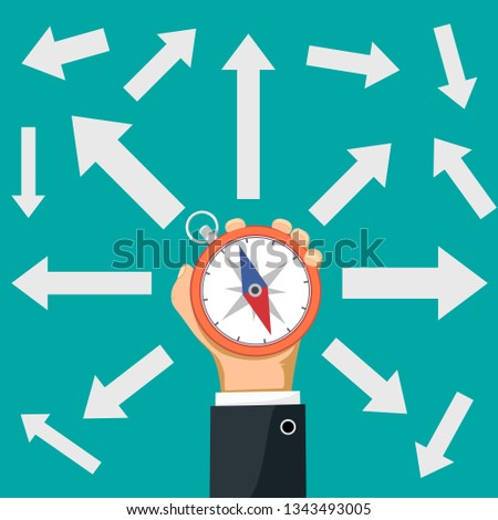 Businessman holding a compass in his hand. Arrows indicate the direction. Vector illustration in flat graphic style.