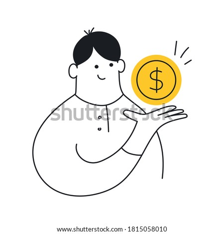 Businessman holding a dollar, gold coin. Profit, money management, wages, credit, salary, income, cash, value or banking concept. Flat line isolated clean vector illustration on white.