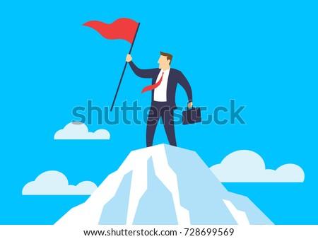 businessman holding a flag on