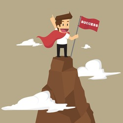 businessman holding a flag that succeed in mountain. vector