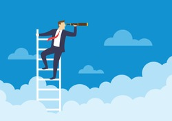 Businessman holding a telescope standing on the top of the stairs looking of success, Searching new business goals, Finding ambition and motivation concept, Flat design vector illustration
