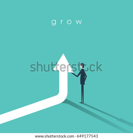 businessman holding arrow going ...