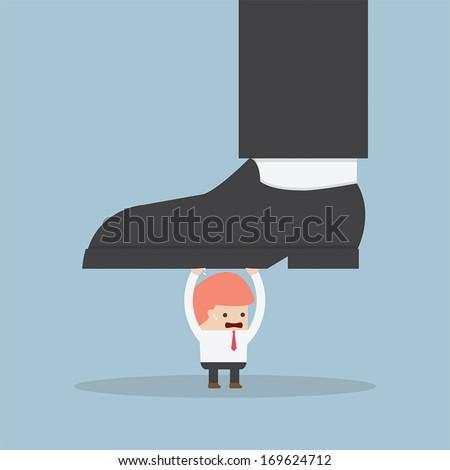 Businessman holding big businessman foot, VECTOR, EPS10