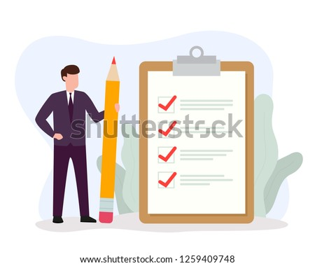Businessman holding big pencil looking at completed checklist on clipboard. Successful completion of business tasks and goals achievements. Vector illustration EPS 10.