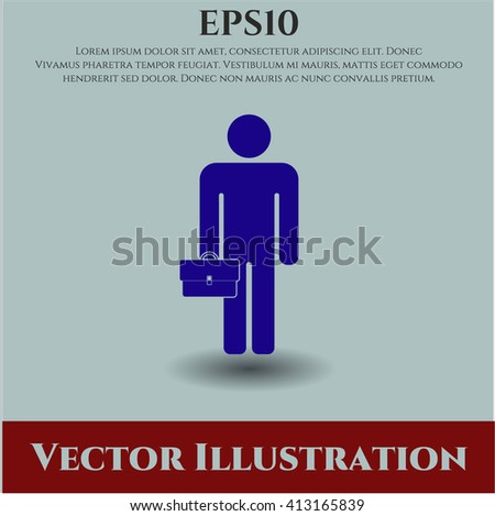 Businessman holding briefcase icon vector illustration