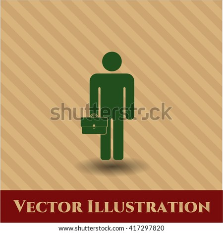Businessman holding briefcase icon vector symbol flat
