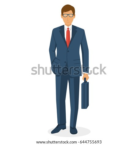 Businessman holding briefcase isolated on white background. Vector illustration flat design. Male cartoon character. Office manager in a business suit. Confident man.