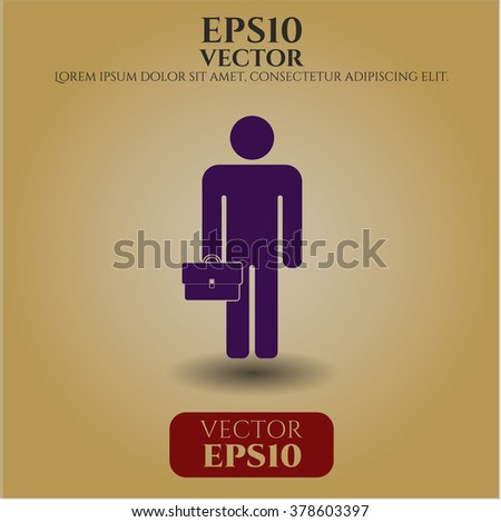 Businessman holding briefcase vector icon