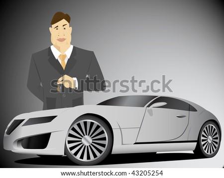 Businessman holding car keys - stock vector