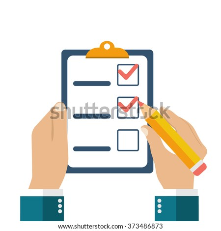 Businessman holding checklist and pencil. Questionnaire, survey, clipboard, task list. Icon flat style vector illustration. Filling out forms, planning