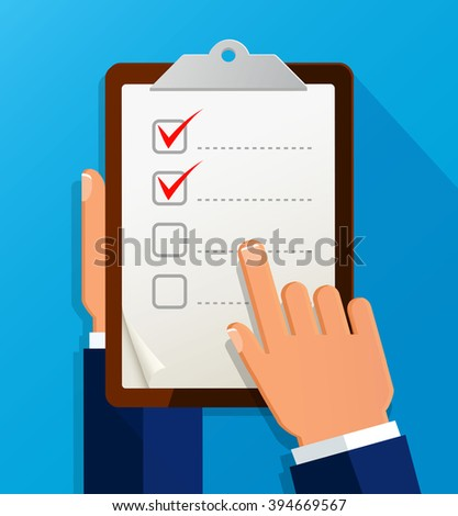Businessman holding checklist. Questionnaire, clipboard, task list. Icon flat style