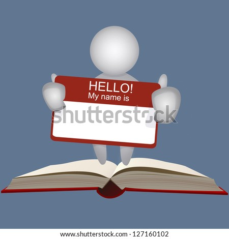 businessman holding company name card on a open book. vector design
