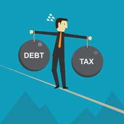 Businessman holding debt weight and tax weight, Vector illustration in flat style