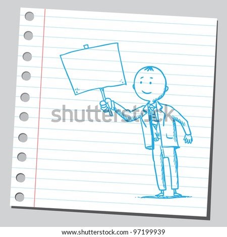 Businessman holding empty banner - stock vector
