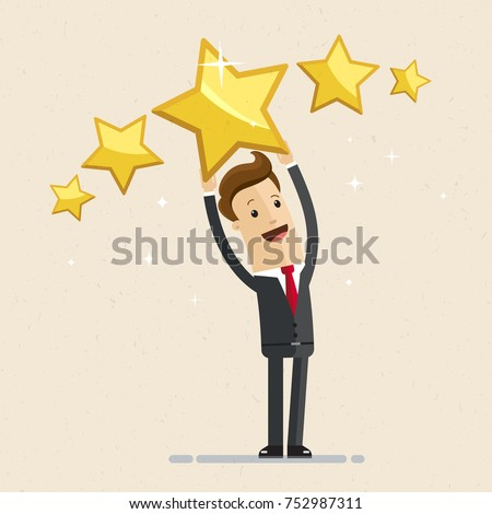 Businessman holding five gold stars for rating, quality and business concept. Vector, illustration, flat.