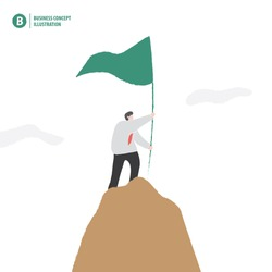 Businessman holding flag on the mountain meaning success on white background illustration vector. Business concept.
