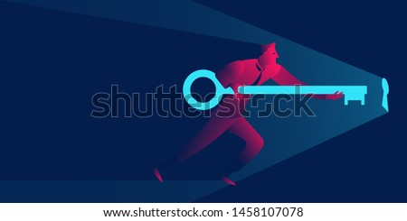 Businessman holding giant key to the keyhole. Solution, open new opportunities or problem solving business concept in red and blue neon gradients