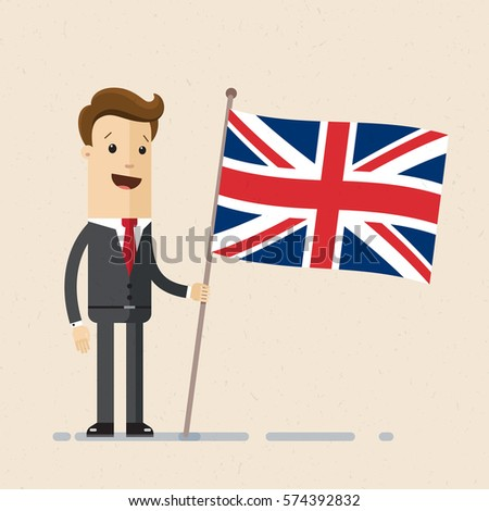 Businessman holding in hand  flag of United Kingdom.  Vector, illustration, flat