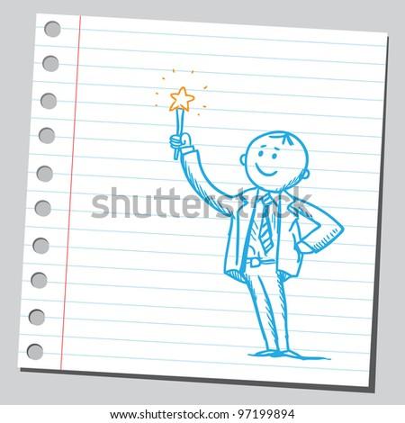 Businessman holding magic wand