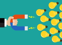 Businessman holding magnet attracting light bulbs idea. Vector illustration for business concept