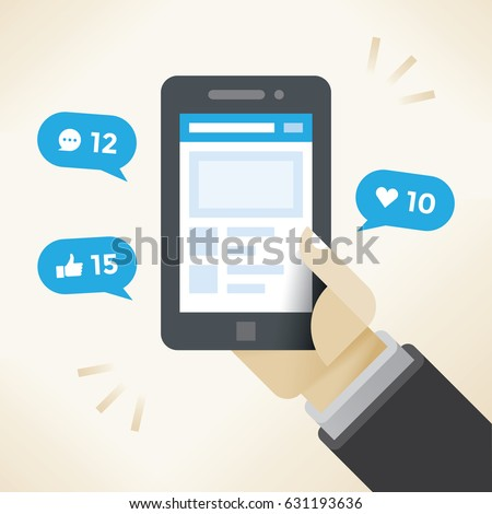 Businessman holding mobile phone with social network notifications on screen - new chat messages, new article likes and appreciations. Idea - social networking in modern business negotiations.