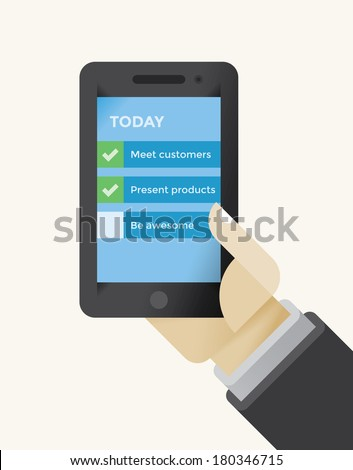 Businessman holding mobile phone with To Do List: Meet customers, present products, be awesome