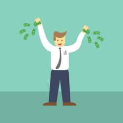 Businessman holding money illustration, Workers Salary, Vector Design