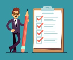Businessman holding pencil at big complete checklist with tick marks. Business organization and achievements of goals vector concept. Check list with tick mark, businessman with questionnaire