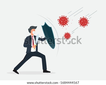 Businessman holding shield and sword protect from COVID-19 Virus. Stop coronavirus spreading. Businessman warrior concept. Vector illustration