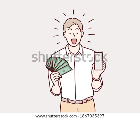Businessman holding smartphone and dollars. Hand drawn style vector design illustrations.