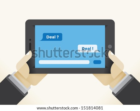 Businessman holding tablet computer with question Deal? and answer Deal! SMS messages chat.