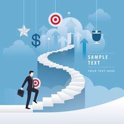Businessman holding Target rising up the spiral stairs of the Career. Business Concept journey and Development, Creative idea, Start up, Future success. first step, vector illustration.