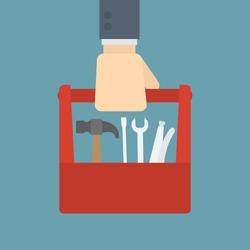 businessman holding tool box