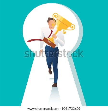 businessman holding trophy running with key hole the door to business success
