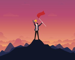 Businessman holding up a gold trophy cup with success flag on top of mountain. Sunset background, Business, Success, Leadership, Achievement, People successful career concept, Vector illustration flat