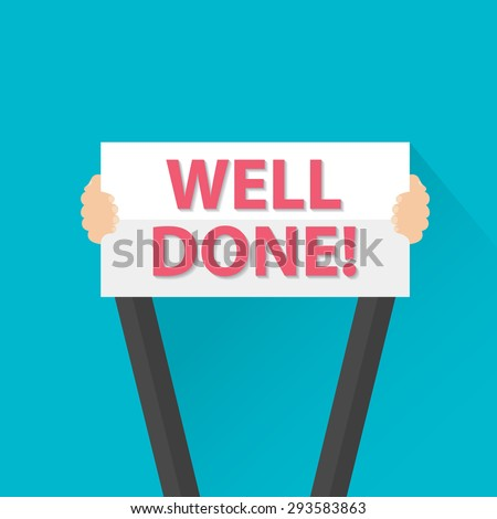Businessman holding Well done sign, vector Stock foto ©