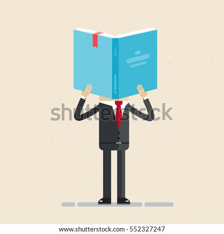 Businessman holds book in his hands. Book reading. Business study concept. Vector, flat,  illustration.