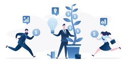 Businessman holds money tree, new startup idea. New business growth. Crowdfunding concept. Investors are running with money in hands. Business incubator, investment process. Flat Vector illustration