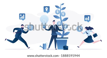 Businessman holds money tree, new startup idea. New business growth. Crowdfunding concept. Investors are running with money in hands. Business incubator, investment process. Flat Vector illustration Foto stock ©