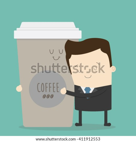 businessman hugging a coffee cup