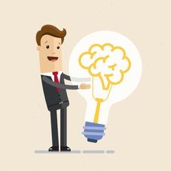 Businessman hugs a big lightbulb, brain. Big good idea. Concept