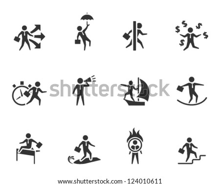 Businessman icon in various activities in single color