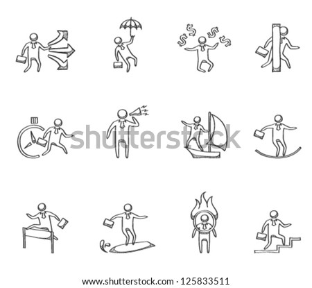 Businessman icon in various activities in sketch - stock vector