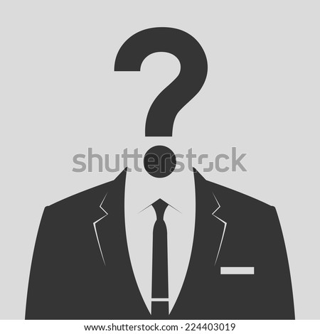 businessman icon with question