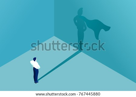 Businessman icon with superhero shadow vector concept for business illustration. Business symbol of leadership ambition success courage motivation and challenge.