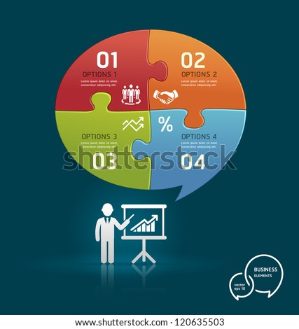 Businessman icons presentation with speech bubble puzzle number options template. Vector illustration - stock vector