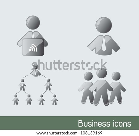 businessman icons with laptop. vector illustration
