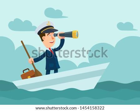 businessman in a captain cap