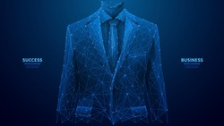 Businessman in a suit. Abstract polygonal wireframe closeup a young attractive successful man in an expansive classic luxury suit. Vector low poly wireframe illustration. Navy banner with copy space.